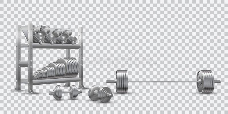 Realistyczny sprawność fizyczna wektor na przejrzystym tle olimpijski barbell, stalowi dumbbels i składowa półka z barbell talerz ilustracja wektor