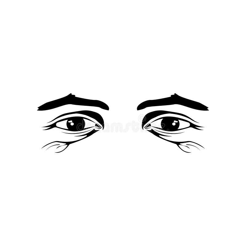 Realistyczny stary człowiek przygląda się czarny i biały ilustrację na białym tle royalty ilustracja