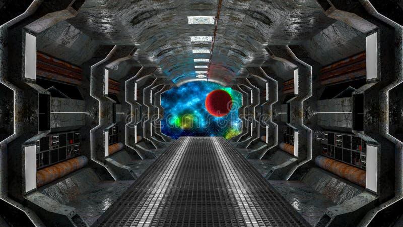 Realistyczny stary statku kosmicznego fantastyka naukowa korytarz ilustracja wektor