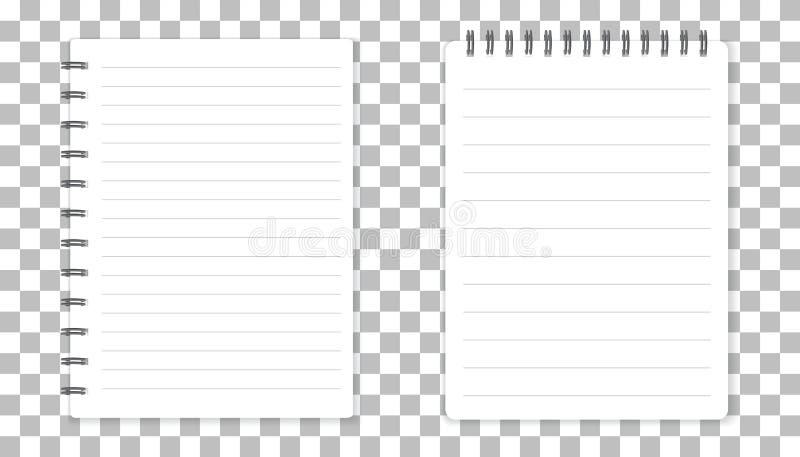 Realistyczny szablonu notepad z spiralą Pustej pokrywy projekt Scho royalty ilustracja