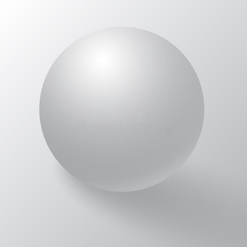 Realistyczny szczegółowy 3d puste miejsce biała round sfera 3d piłka lub Biała round sfera z cieniami, cieniami i odruchem, royalty ilustracja