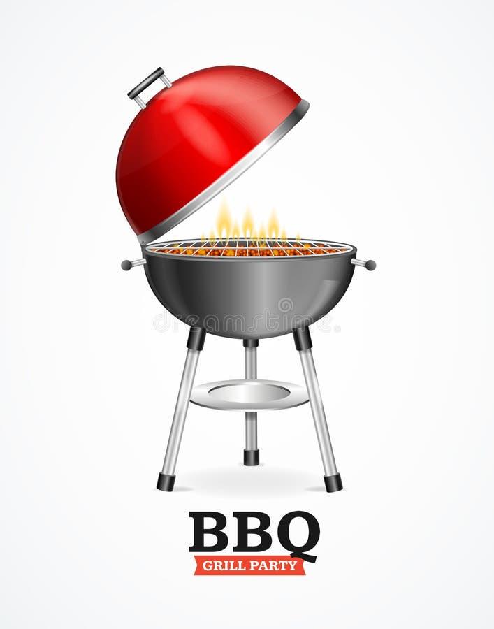 Realistyczny Szczegółowy 3d Bbq lub grilla grill wektor ilustracji