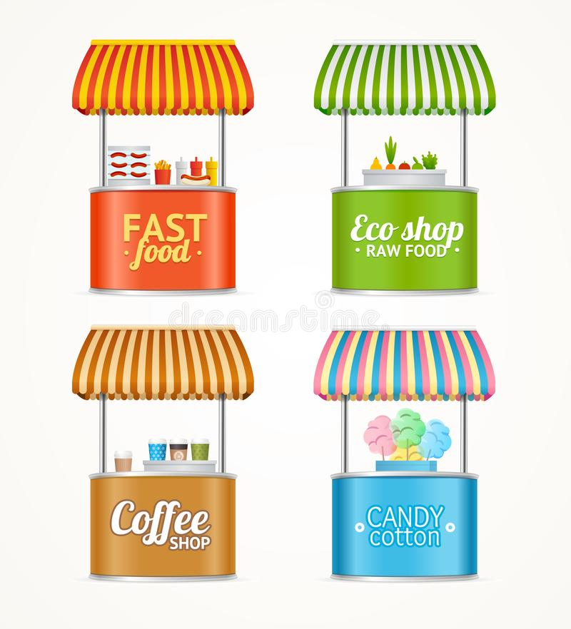 Realistyczny Szczegółowy 3d fasta food rynku kramu Uliczny set wektor ilustracji