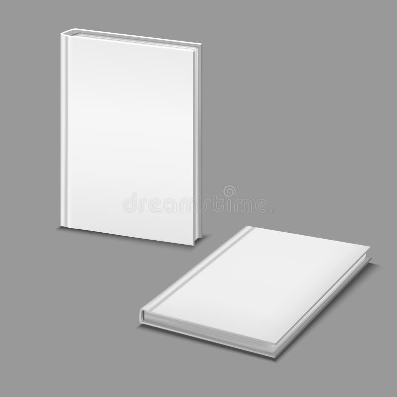 Realistyczny Szczegółowy 3d Hardcover książek szablonu Mockup Biały Pusty set wektor royalty ilustracja
