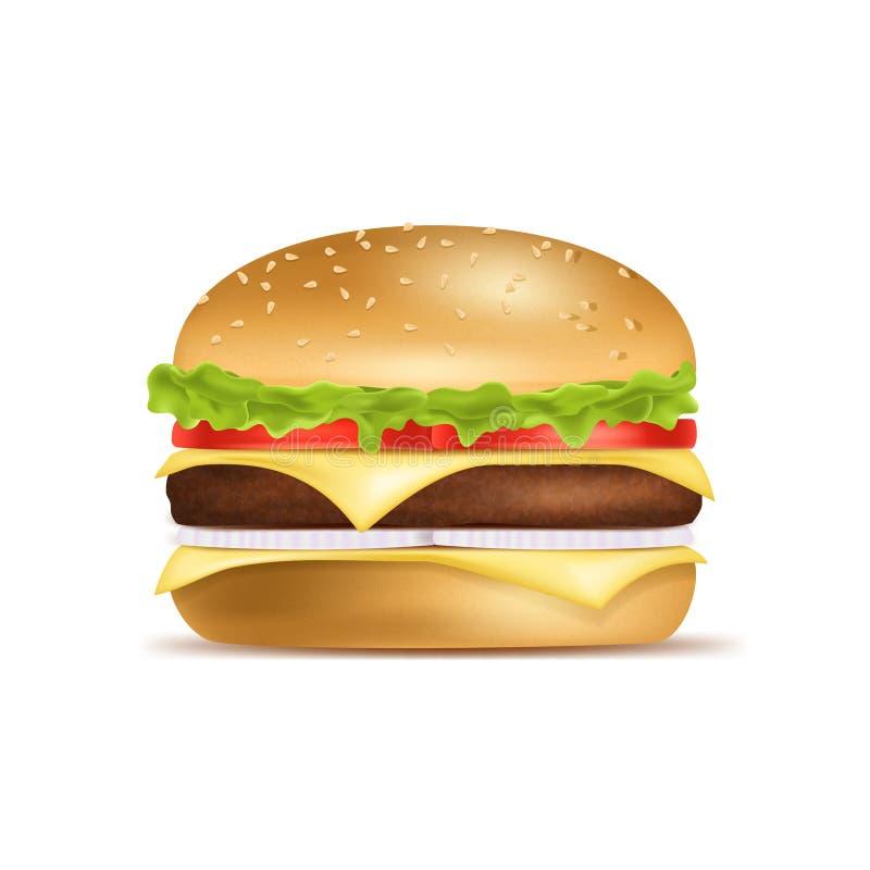 Realistyczny Szczegółowy 3d Klasyczny Amerykański hamburger wektor royalty ilustracja