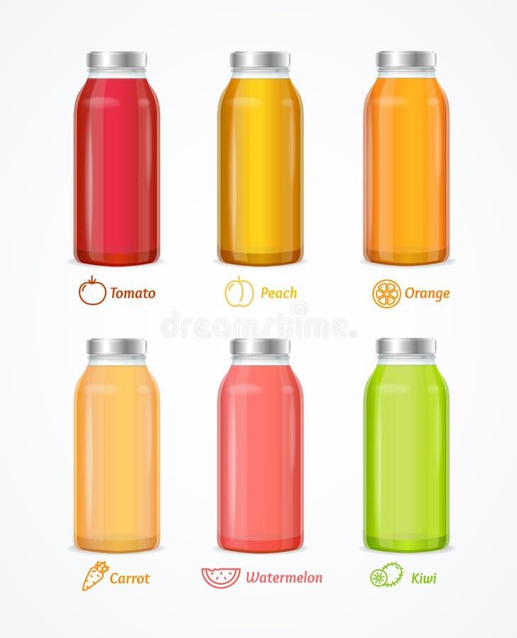 Realistyczny Szczegółowy 3d soku butelki Różny set wektor royalty ilustracja