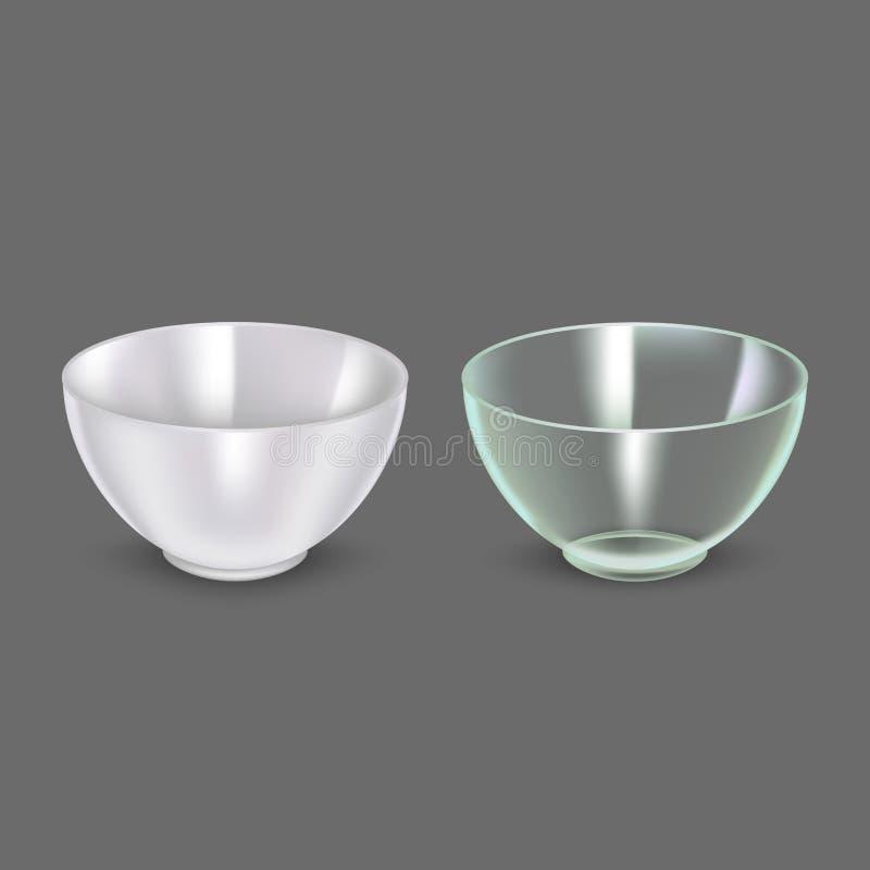 Realistyczny Szczegółowy 3d szkło i Ceramiczny puchar wektor ilustracji