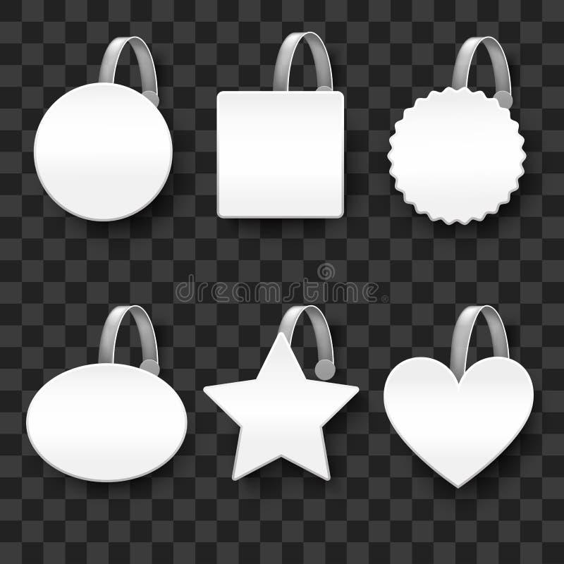 Realistyczny Szczegółowy 3d Wobbler szablonu Mockup Biały Pusty set wektor royalty ilustracja