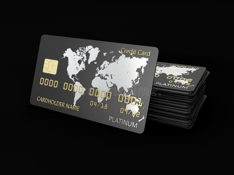 Realistyczny szczegółowy kredytowy kart 3d ilustracyjny projekt odizolowywał czerń ilustracja wektor