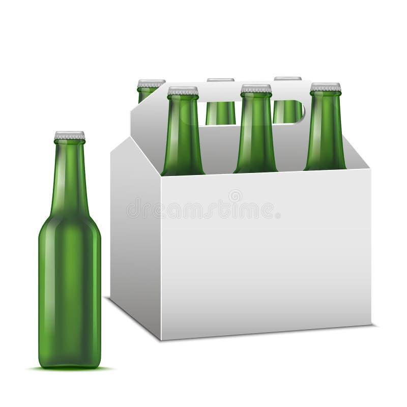 Realistyczny Szczegółowy Piwny Sixpack Alkoholiczny napój wektor ilustracji