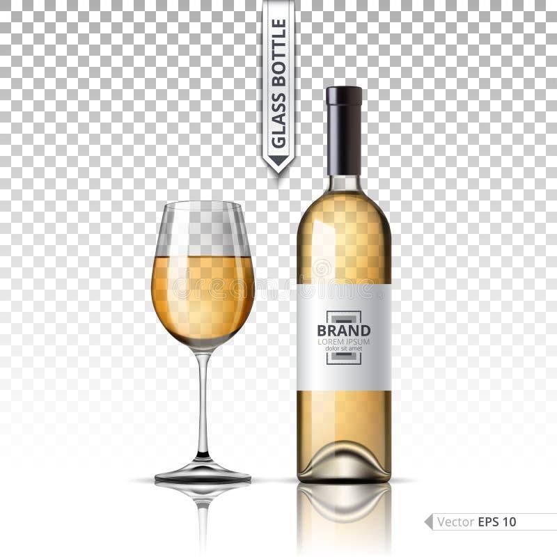 Realistyczny szkło Biały wino i butelka odizolowywający na przejrzystym tle Wektoru egzaminu próbnego 3d wyszczególniająca up ust royalty ilustracja