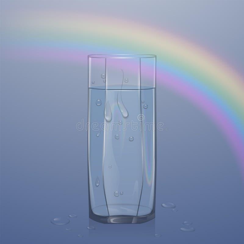 Realistyczny szkło wypełniający z wodą na lekkim tle, jasny szkło z wodnymi kropelkami, wektorowa ilustracja ilustracja wektor