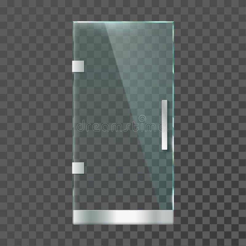 Realistyczny szklany drzwi Nowożytni jaśni drzwi z stalową ramą dla sklepowego sklepu lub biura odizolowywali wektorową ilustracj ilustracja wektor