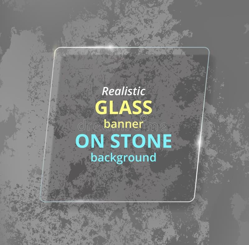 Realistyczny szklany sztandar na betonowym tle kamień ilustracji