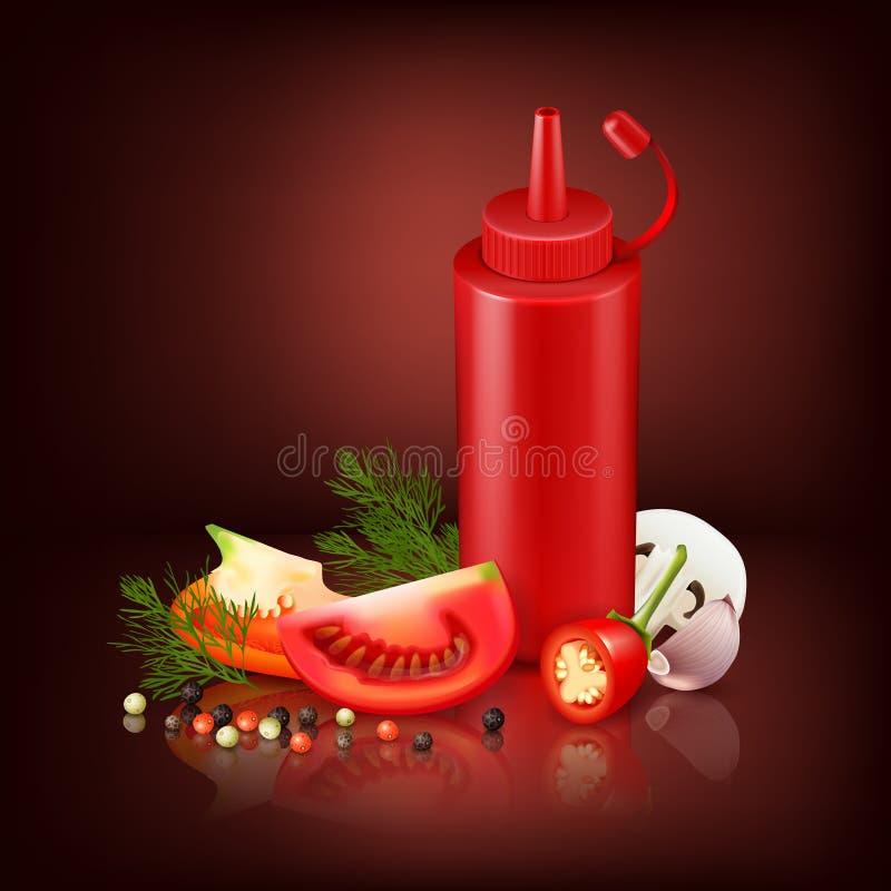 Realistyczny tło Z Czerwoną Plastikową butelką I warzywami ilustracji