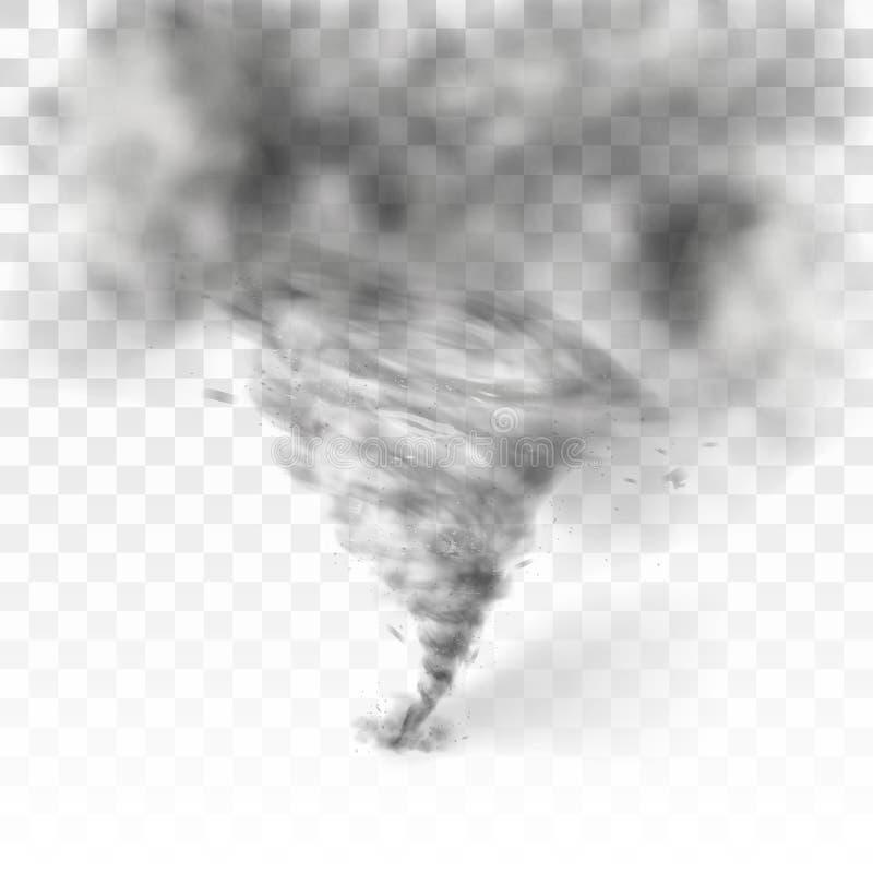 Realistyczny tornado zawijas odizolowywający na białym tle royalty ilustracja
