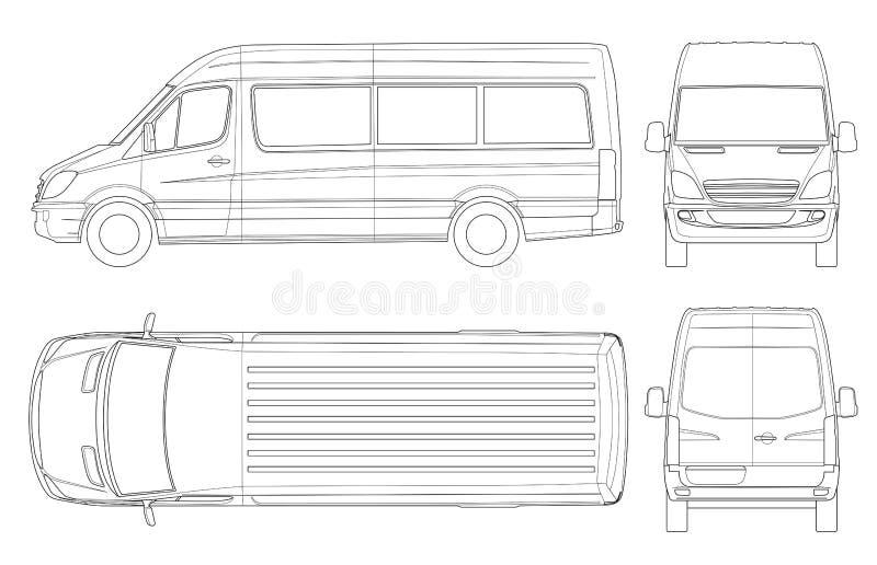 Realistyczny Van Szablon w konturze Odosobniony pasażerski mini autobus dla korporacyjnej tożsamości i reklamy ilustracji