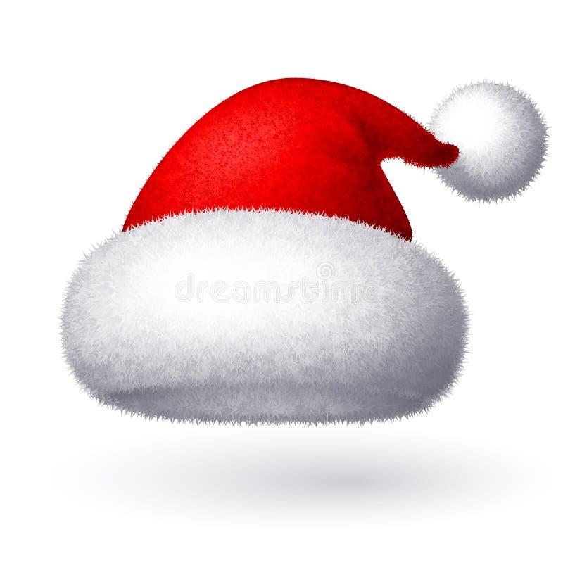 Realistyczny wektorowy Santa kapelusz odizolowywający na białym tle ilustracji