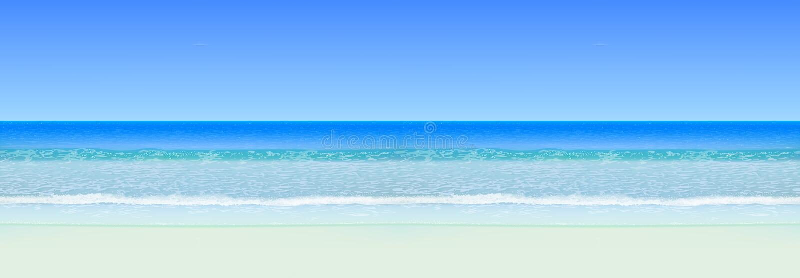 Realistyczny wektorowy seascape Denny ocean z horyzontem i plażą Horyzontalny Bezszwowy Tło ilustracja wektor