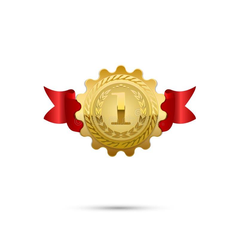 Realistyczny wektorowy złoty medal na czerwonym faborku Zwycięzcy simbol również zwrócić corel ilustracji wektora Najpierw miejsc royalty ilustracja