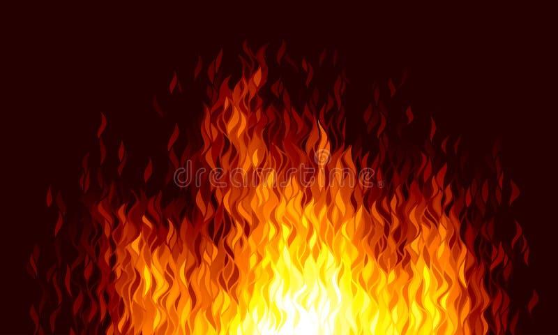 Realistyczny wektoru ogień płonie na czarnym tle royalty ilustracja