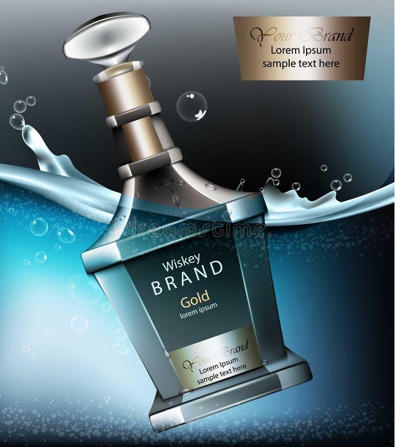 Realistyczny whisky butelki egzamin próbny w górę wektoru Produkt pakuje 3d reklamę Wodny pluśnięcia tło Wysokiej jakości Starzy  royalty ilustracja