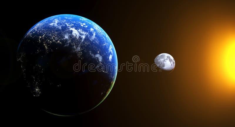 Realistyczny widok Od ziemi księżyc Z słońce połyskiem royalty ilustracja