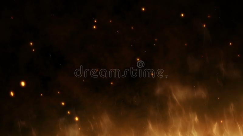 Realistyczny wielki ogień z gorącymi iskrami wzrasta w nocnym niebie Płonący płomień na abstrakcjonistycznym tle z światłem zdjęcia stock