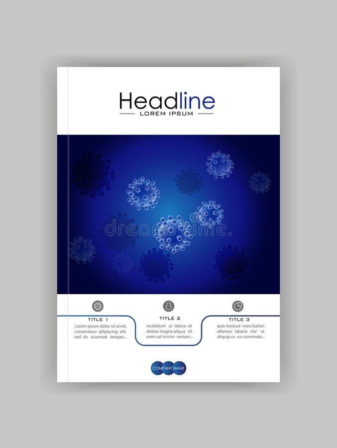 Realistyczny wirusowy wektor na błękitnym tle Medyczna czasopismo pokrywa royalty ilustracja