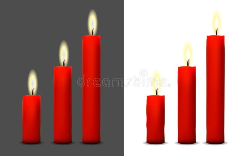 Realistyczny wizerunek płonąca czerwona świeczka ilustracji