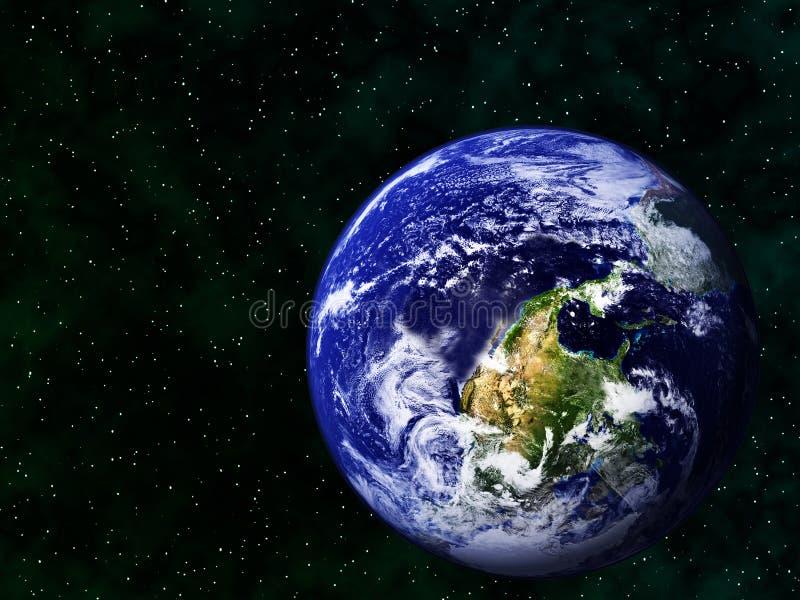 Realistyczny wizerunek ziemia do góry nogami w przestrzeni zdjęcia royalty free