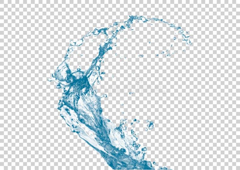 Realistyczny wodny pluśnięcie na białym przejrzystym tle ilustracja wektor