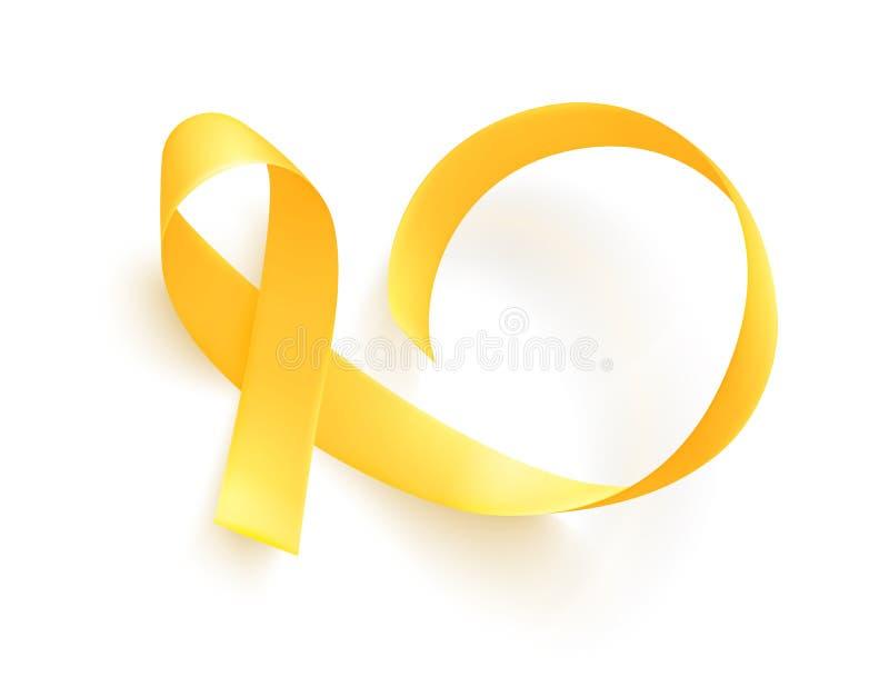 Realistyczny złocisty faborek Światowy dzieciństwo nowotworu symbol, wektor Plakat dla nowotwór świadomości miesiąca ilustracja wektor