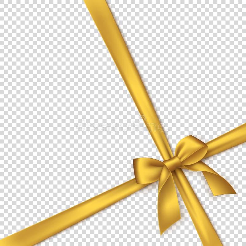 Realistyczny złoty łęk i faborek royalty ilustracja