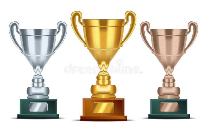 Realistyczny Złoty, srebny i brązowy trofeum z teksta talerzem dla mistrzów, Sportów zwycięzców filiżanka ilustracja wektor