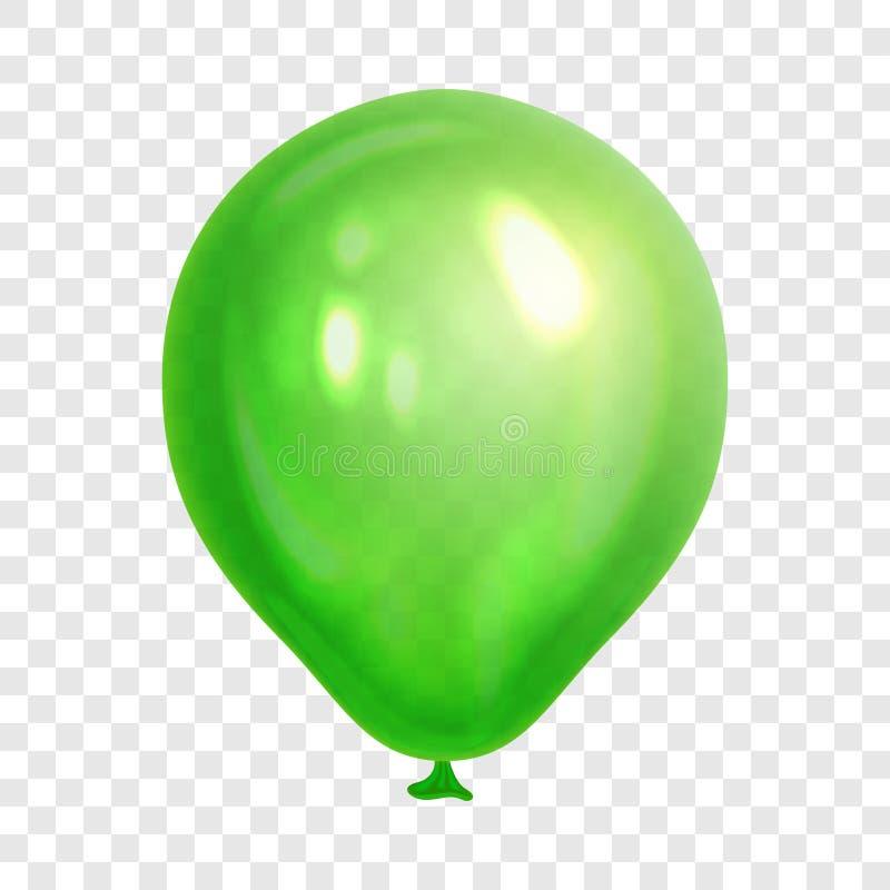 Realistyczny zieleń balon, odosobniony na przejrzystym tle ilustracji