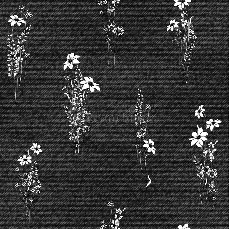 Realistycznych cajgów bezszwowa tekstura w szarość barwi z kwiecistym wzorem Drelichowy tło również zwrócić corel ilustracji wekt royalty ilustracja