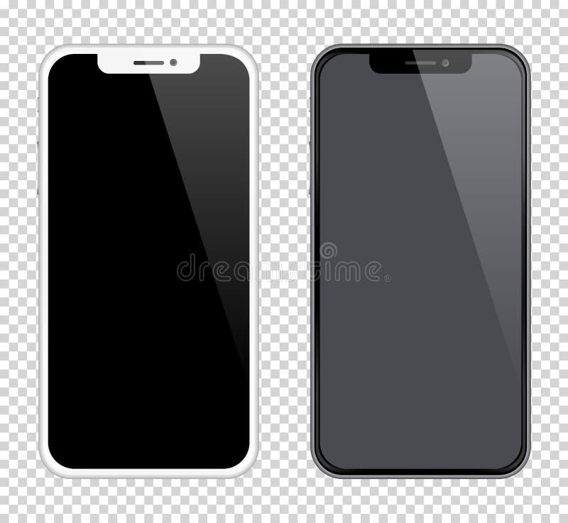 Realistycznych smartphones mockups czarny i biały kolor Akcyjna wektorowa ilustracja dla drukowej reklamy, sieć element royalty ilustracja