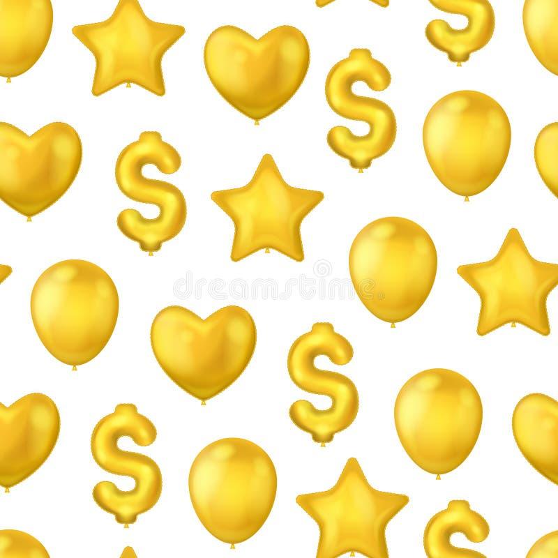 Realistycznych Szczegółowych 3d Złotych balonów Bezszwowy Deseniowy tło wektor royalty ilustracja