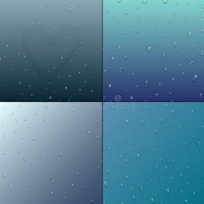 Realistycznych wektor wody kropel raindrop pluśnięcia tła ciekła przejrzysta ilustracja ilustracji