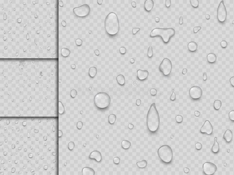 Realistycznych wektor wody kropel raindrop pluśnięcia tła ciekła przejrzysta ilustracja ilustracja wektor