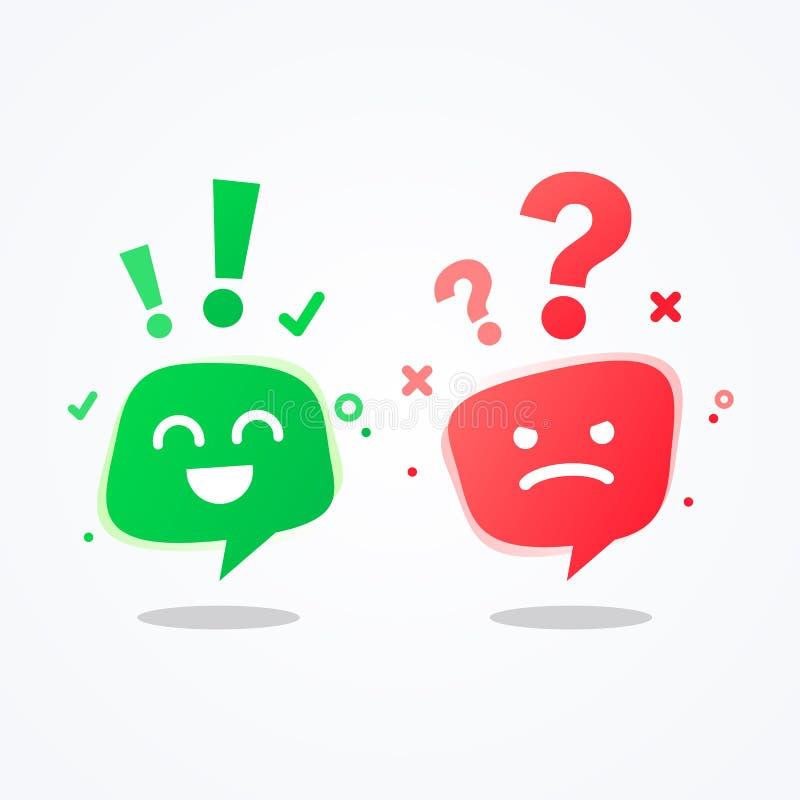 Realitet för symbol för emoji för emoticons för bubbla för anförande för lynne för begrepp för återkoppling för erfarenhet för ve stock illustrationer