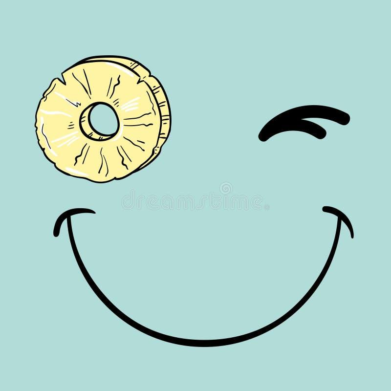 Realiteten blinkar smiley med skivan av ananas royaltyfri illustrationer
