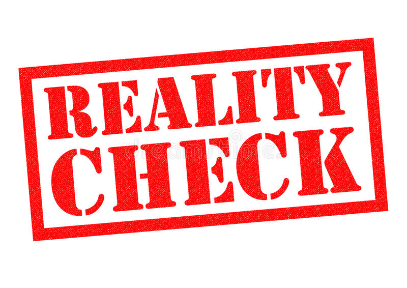 REALITY CHECK. Red Rubber Stamp over a white background royalty free illustration