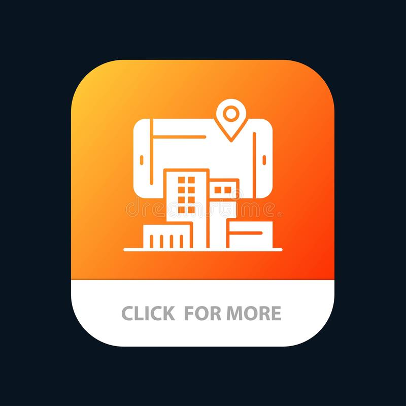 Reality, City, Technology, Augmented Mobile App Button. Android and IOS Glyph Version stock illustration