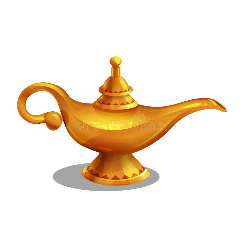 Realização dourada dos desenhos animados, lâmpada mágica com gênios ilustração stock