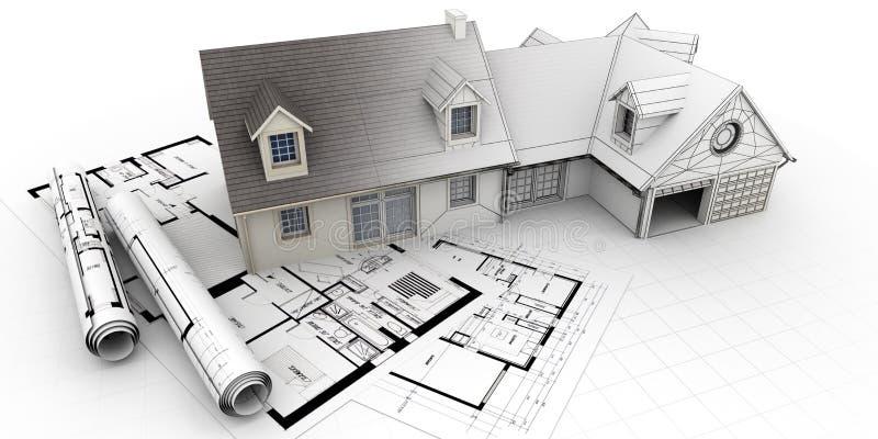 Realización casera del proyecto de la arquitectura ilustración del vector
