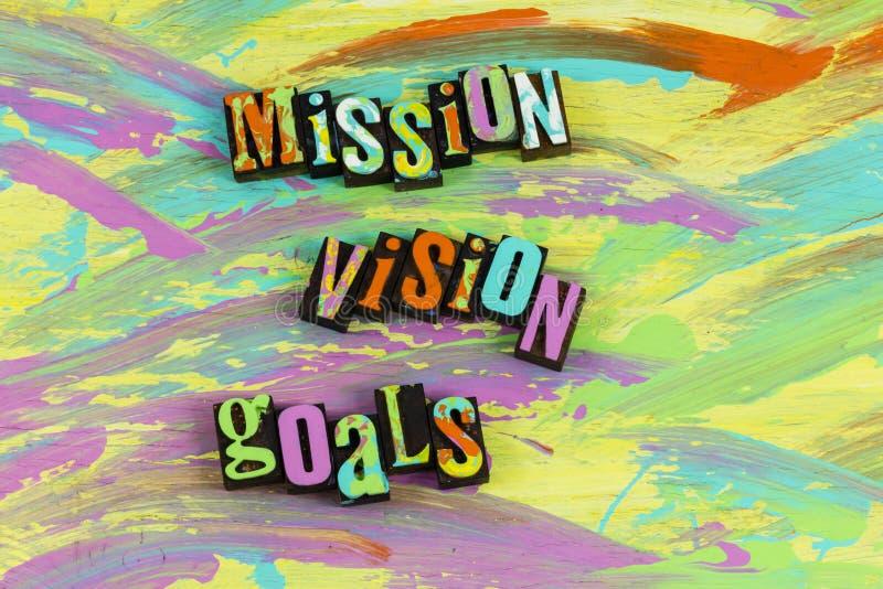 Realización de las metas de la visión de la misión acertada imágenes de archivo libres de regalías