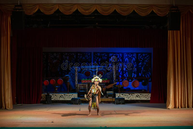 Realizacja tradycyjnej kultury Sarawak Cultural Village obraz stock
