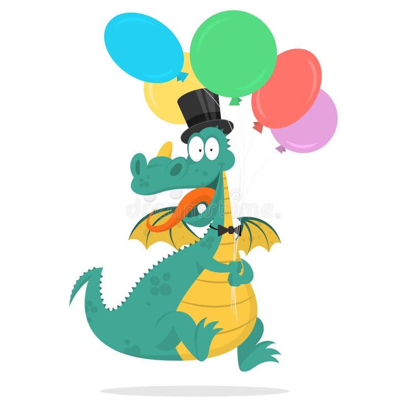 Realizar alegres do dragão em balões das mãos ilustração stock